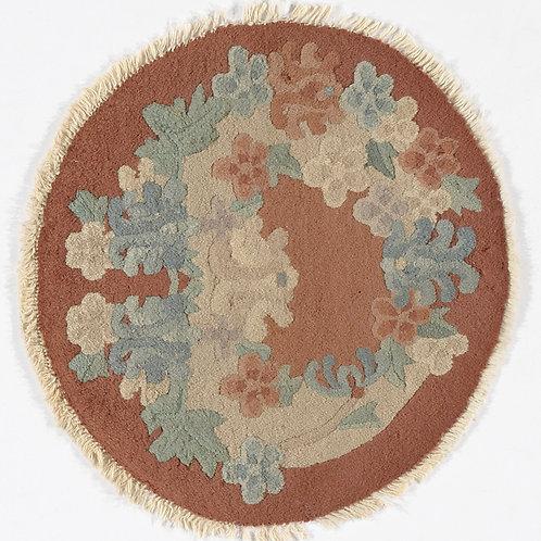 "Round Brown Floral Vintage Chinese Art Deco Rug ARI-500699 1' 6"" x 1' 7"""