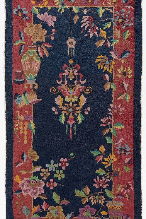 "Navy Floral Vintage Chinese Art Deco Rug ARI-500720 2' 6"" x 4' 10"""