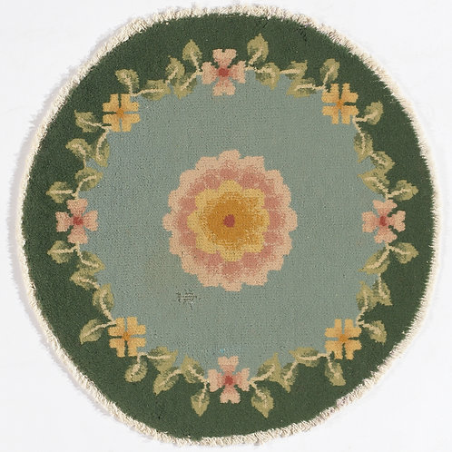 "Green Floral Vintage Chinese Art Deco Rug ARI-500718 1' 11"" x 2'"