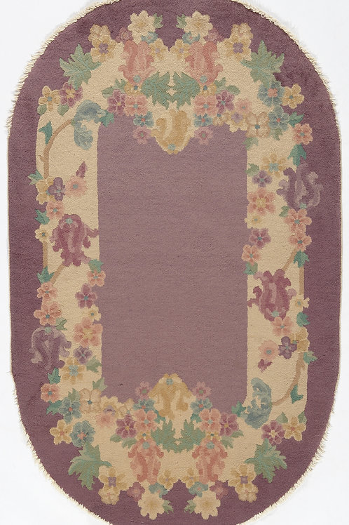 Oval Mauve Floral Vintage Chinese Art Deco Rug ARI-500693 3' x 5'