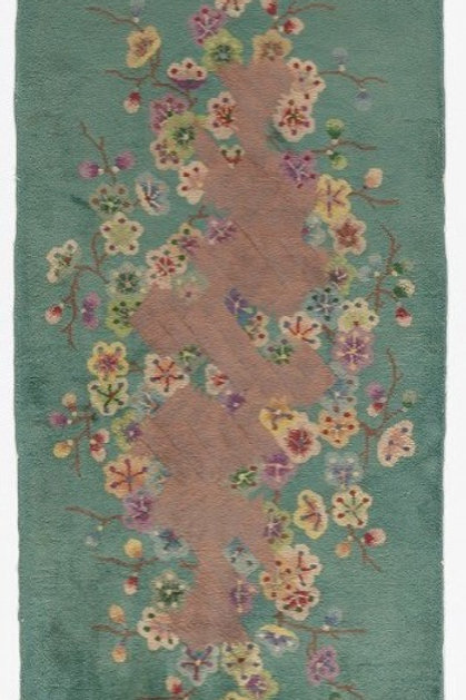 "Green Floral Vintage Chinese Art Deco Rug ARI-500539 1' x 1' 6"""