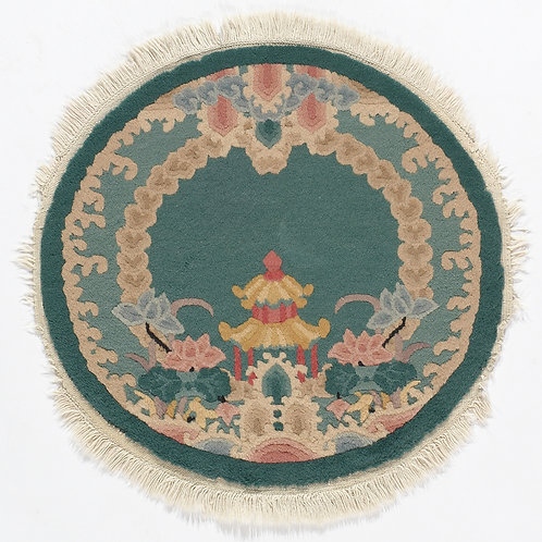 "Round Green Floral Vintage Chinese Art Deco Rug ARI-500698 6' 3"" x 6' 3"""