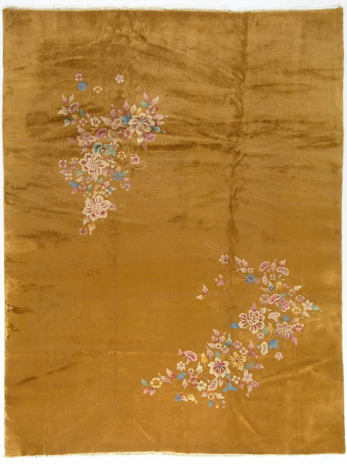 Yellow Floral Antique Chinese Art Deco Rug ARI-500544 9' x 11' 6""
