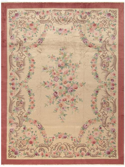 "Floral Cream Vintage Chinese Handmade Art Deco Rug ARI-500595 8' 11"" x 11' 9"""