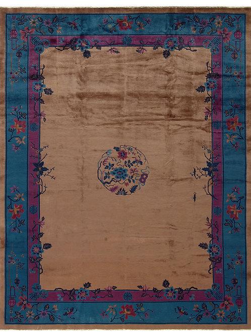 "Brown Floral Design Chinese Art Deco Rug ARI-500577 9' x 11' 3"""