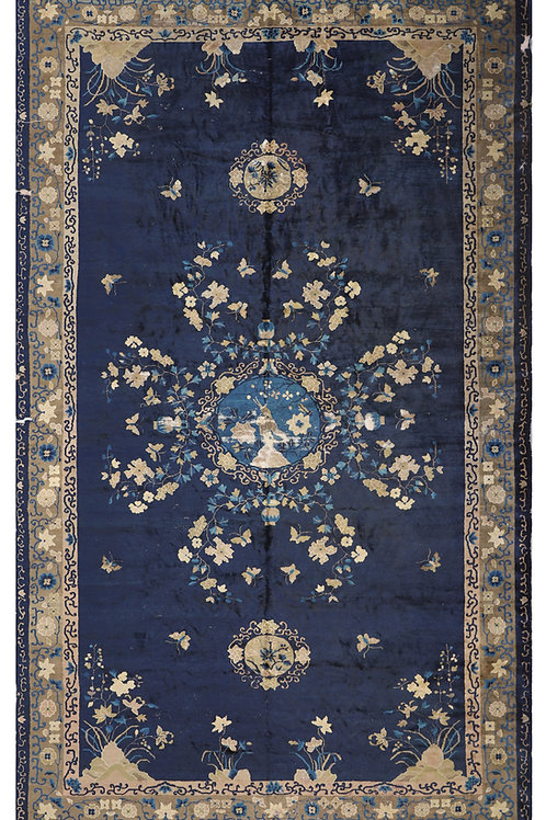 Blue Floral Hand Knotted Peking Vintage Chinese Art Deco Rug ARI-266 10.3 x 17.0