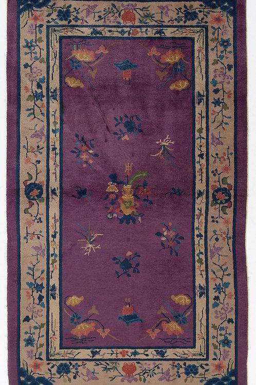 """Purple Pictorial Antique Chinese Art Deco Rug ARI-500614 3' 10"""" x 6' 7"""""""