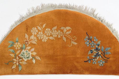 """Orange Semi-Circular Floral Chinese Art Deco Rug ARI-500712 1' 11"""" x 3' 10"""""""