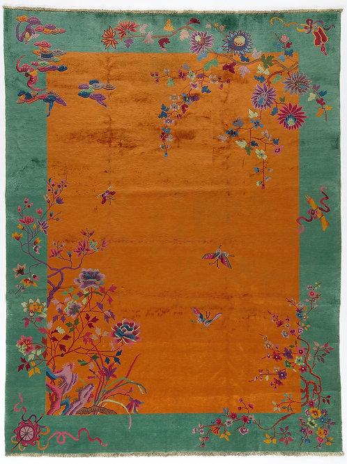 """Orange Pictorial Antique Chinese Art Deco Rug ARI-500717 8' 9"""" x 11' 4"""""""