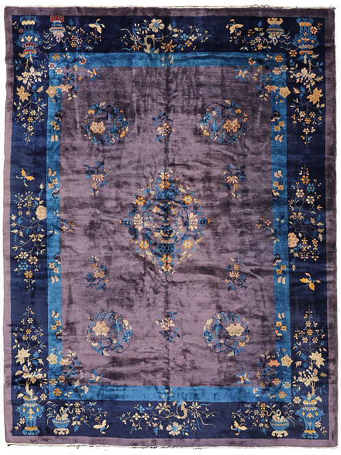 "Purple Floral Art Deco Rug ARI-5346 9' 1"" x 11' 7"""