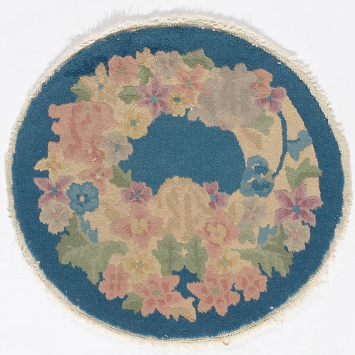 Round Blue Floral Vintage Chinese Art Deco Rug ARI-500700 1 '6 x 1 '7""
