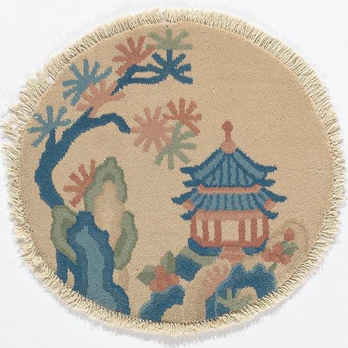 """Cream Chinese Designed Circular Art Deco Rug ARI-500707 1' 6"""" x 1' 6"""""""