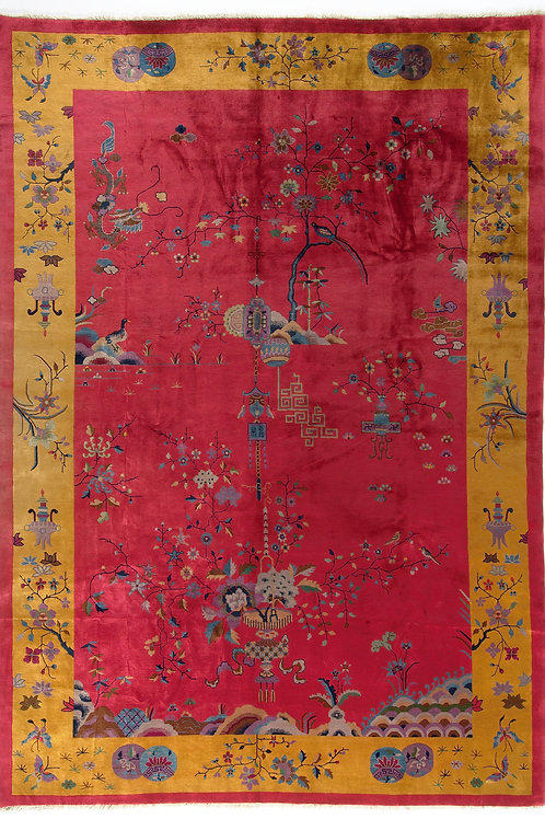 "Red Vintage Chinese Art Deco Rug ARI-500579 9' 11"" x 14' 3"""