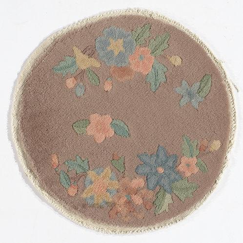 """Cream Floral Round Chinese Art Deco Rug ARI-500710 1' 3"""" x 1' 3"""""""