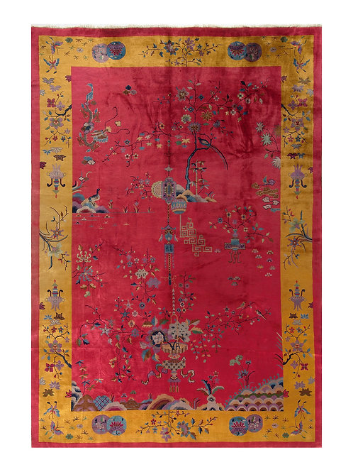 "Red and Gold Chinese Art Deco Rug with Floral Designs ARI-500231 9' 11"" x 14' 2"""