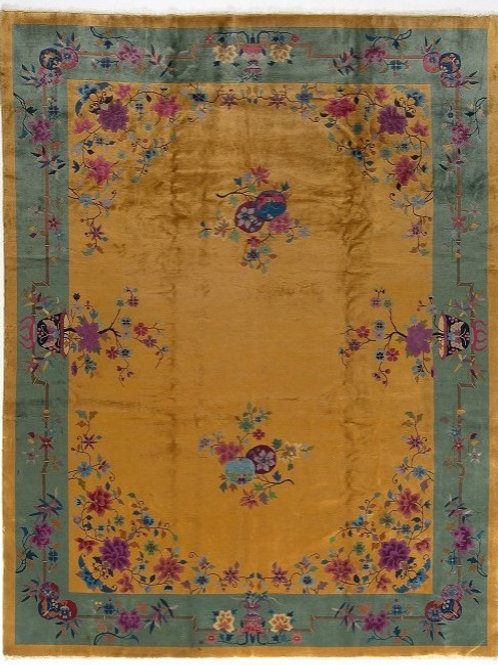 "Yellow Floral Vintage Art Deco Rug ARI-500564 9' x 11' 9"""