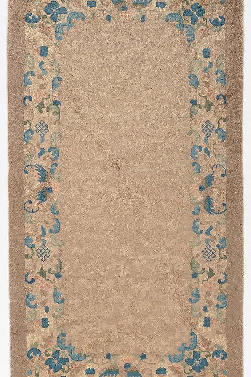 "Cream Floral Vintage Chinese Art Deco Rug ARI-500731 2' 7"" x 4' 6"""