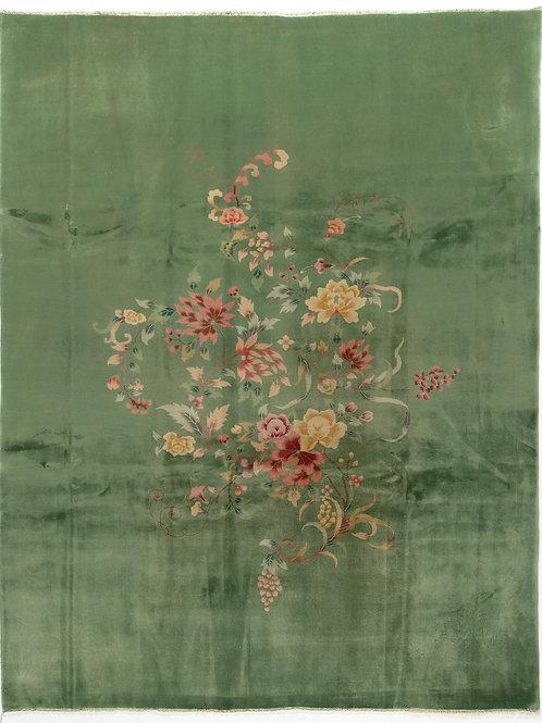 "Green Floral Antique Chinese Art Deco Rug ARI-500594 8' 10"" x 11' 3"""