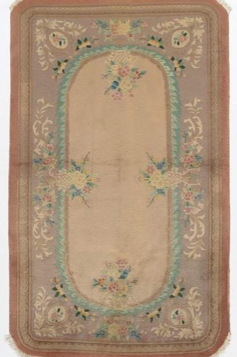 Cream Floral Antique Chinese Art Deco Rug ARI-500621 4' x 6' 9""