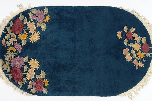 Navy Oval Floral Antique Chinese Art Deco Rug ARI-500611 4' x 7'