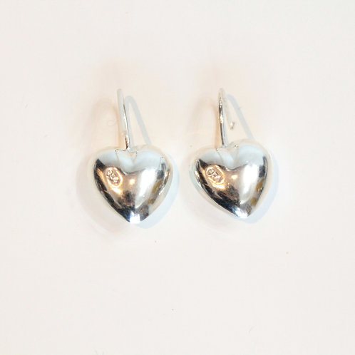 Silver heart earrings from Mexico