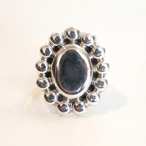 flower motif silver ring