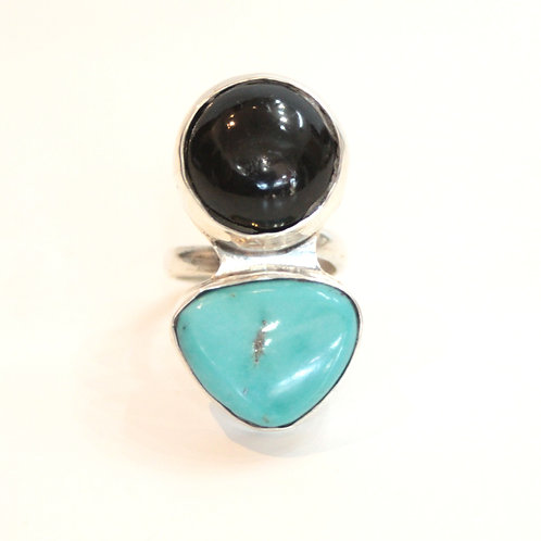 Turquoise&onyx ring from Mexico