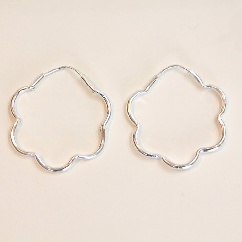 Silver flower hoop L from Mexico
