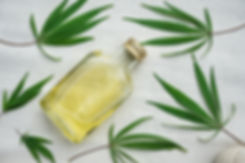 leaves of cannabis and bottle with hemp