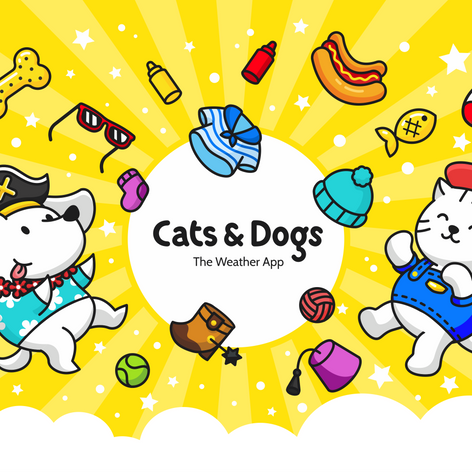 Cats and Dogs Behance page illustration