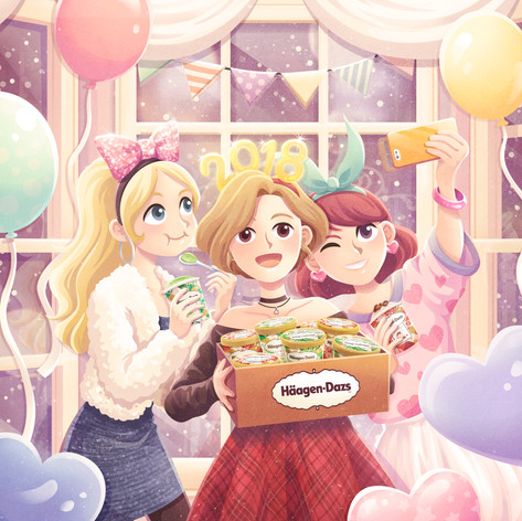Haggen-Daz promotional illustration2
