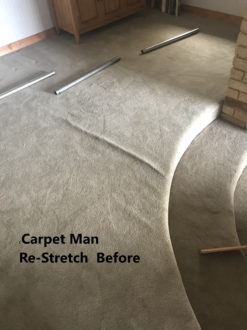carpet has rippled and requires a power stretcher