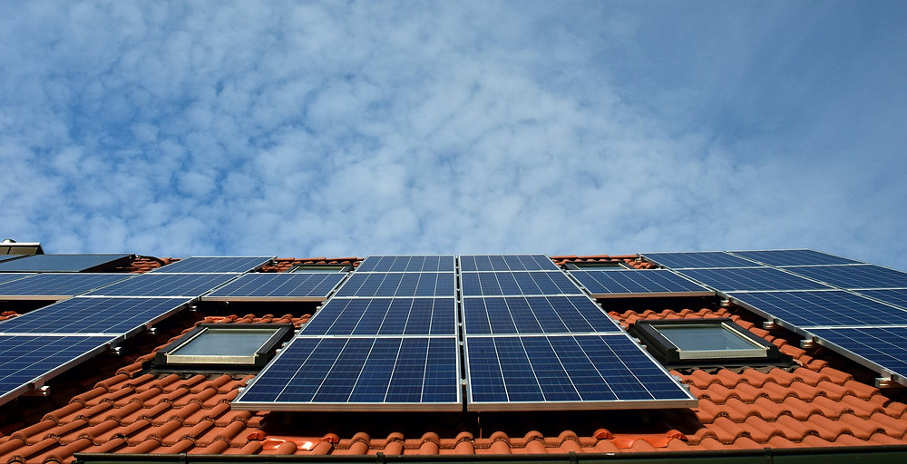 Solar panels on a clay tiled roof