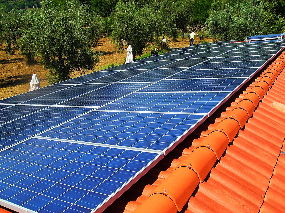Solar panels on clay tiled roof