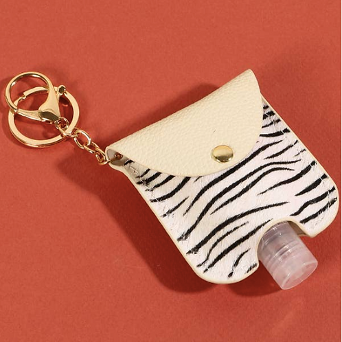Animal Print Hand Sanitizer Keychain