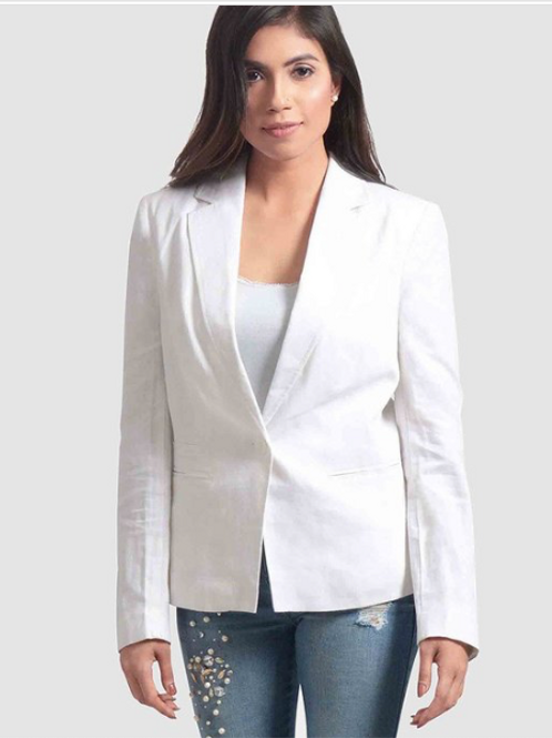Single Breasted White Blazer