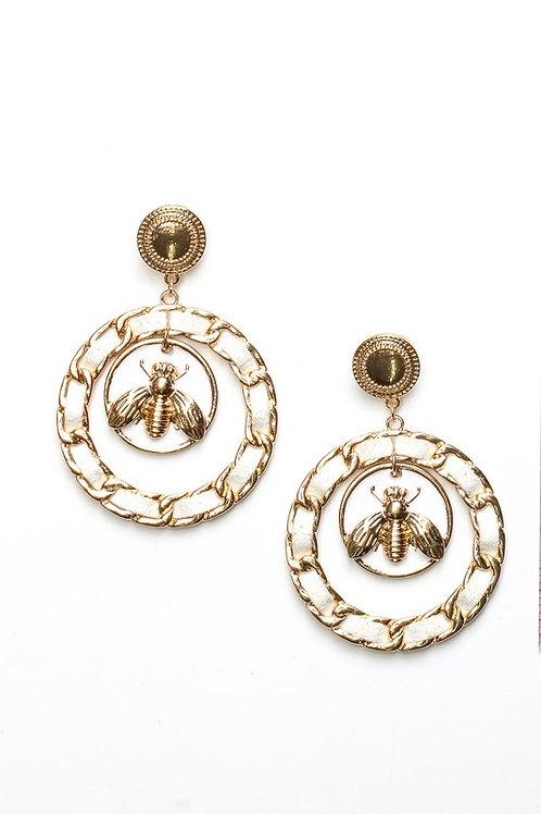 Classic Bee Hoop Earrings