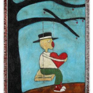 """""""Heart on a Swing"""" 50x60 Woven Blanket"""