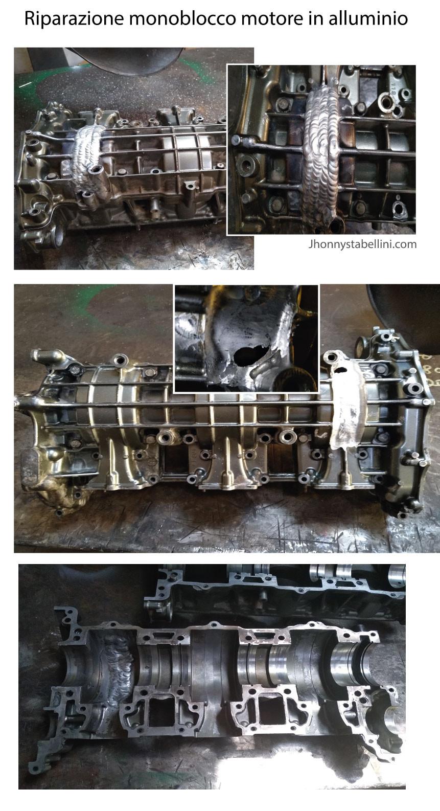 Riparazione monoblocco motore in alluminio tramite saldatura TIG