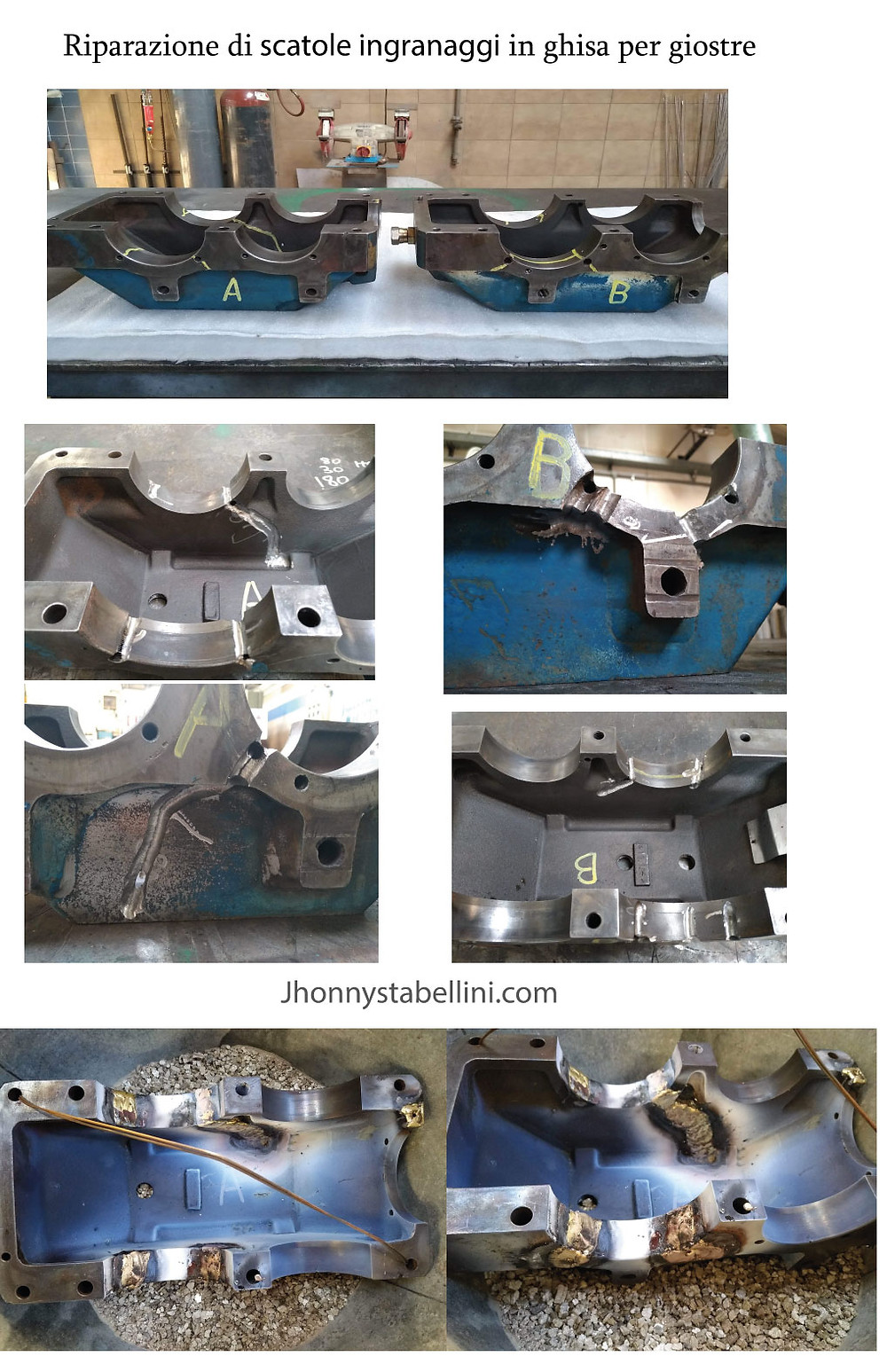 Riparazione di scatole ingranaggi in ghisa per giostre tramite saldatura ossiacetilenica con lega di ottone