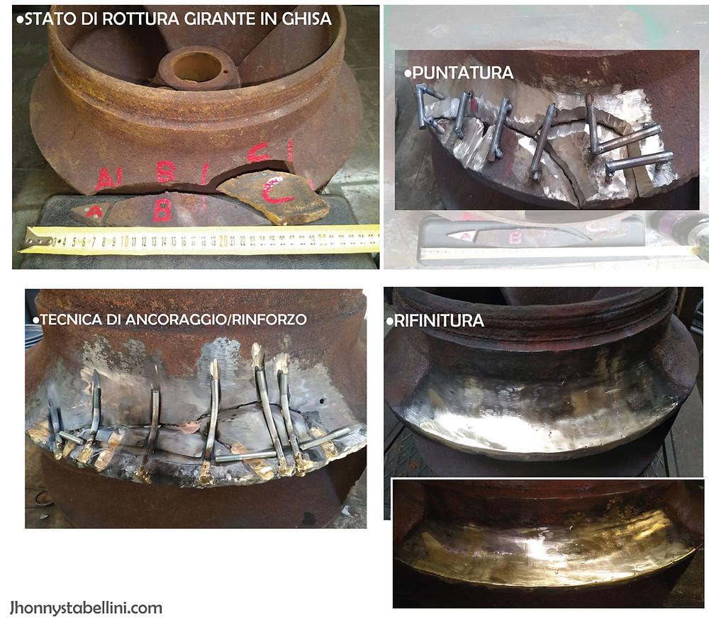 Riparazione girante in ghisa tramite giuntura di componenti in ghisa daneggiati, fratturati o rotti