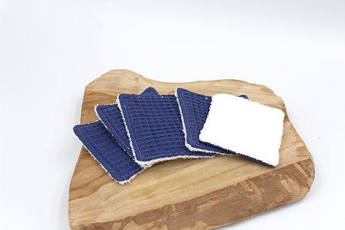 Coton lavable nid d'abeille bleu
