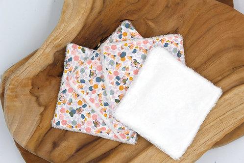 Coton lavable bambou fleurs douce