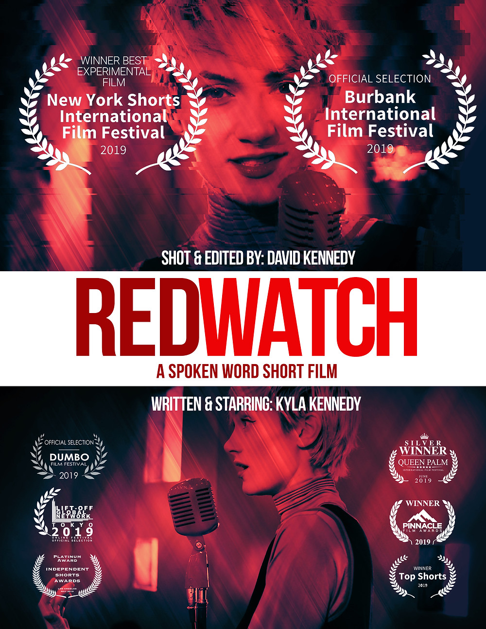 we recently made a short spoken word film written by and Starring Kyla Kennedy. The film has now won over 8 awards including Best editing and Actress. Red Watch has also bee selected to premiere here in CA at the 2019 Burbank Int. Film Festival in September.