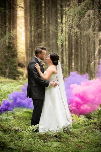 Bröllopsfotografering rökbomb