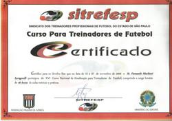 Certificado Treinadores 2009