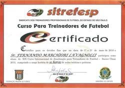 Certificado Treinadores 2010