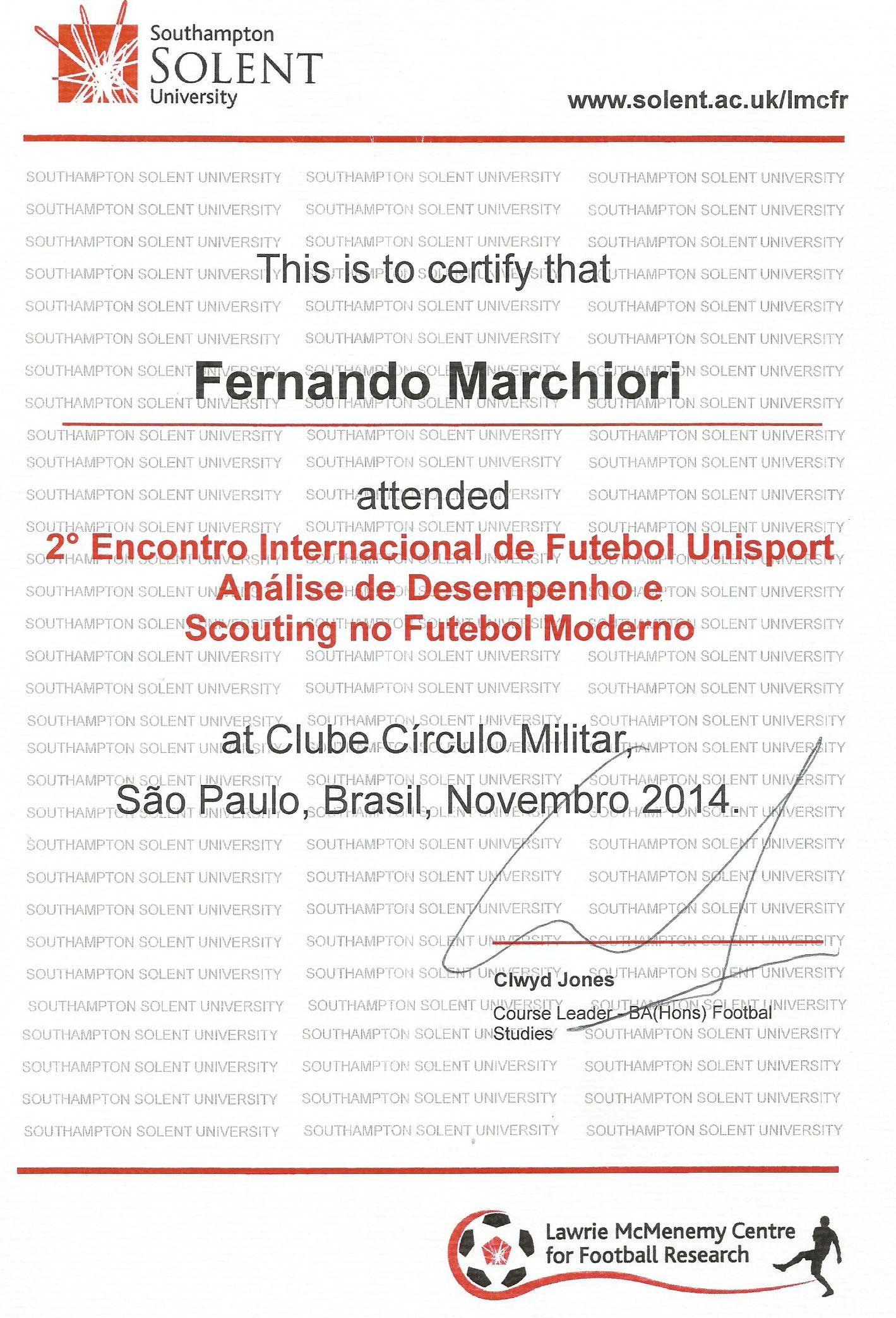 Certificado Futebol Moderno
