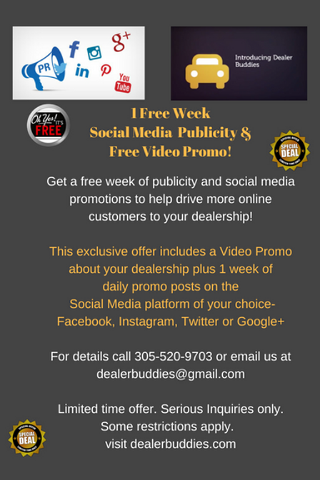 Dealer Buddies 1 Week Free Social Media Publicity