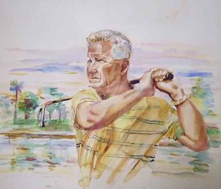 Water Color Portrait Golfer